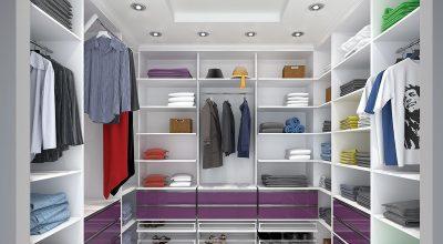 חדר ארונות מדגם Kloss ROOM בעיצוב בהיר