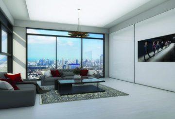 ארון הזזה דגם Smart Line עם 2 דלתות עם טלוויזיה מובנית בעיצוב בהיר