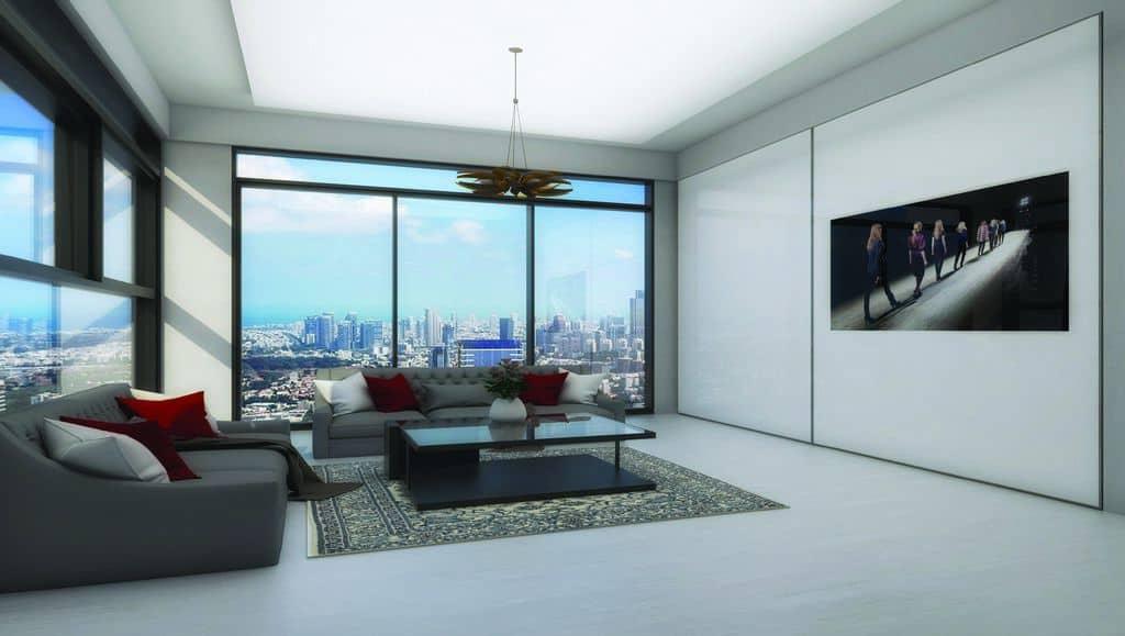 ארון הזזה דגם Kloss TV עם 2 דלתות המשלבות טלוויזיה בעיצוב בהיר