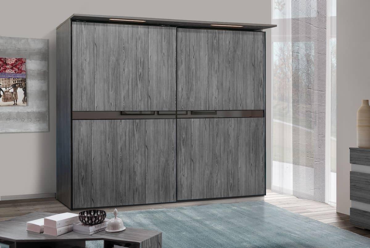 ארון הזזה דגם Wood Style עם 2 דלתות בעל עיצוב כהה - דלתות סגורות
