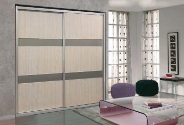 ארון הזזה דגם Wood Style עם 2 דלתות בעל עיצוב בהיר - דלתות סגורות