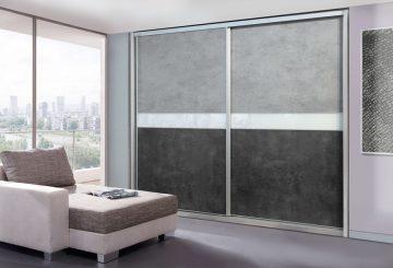 ארון הזזה דגם Concrete wall בעל 2 דלתות בעיצוב אורבני מיוחד
